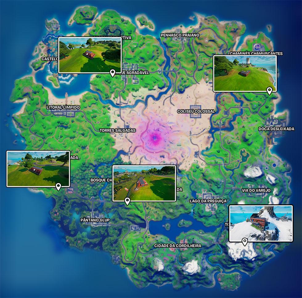 Localização dos Postos Avançados do Comando Nevado em Fortnite (Imagem: Reprodução)