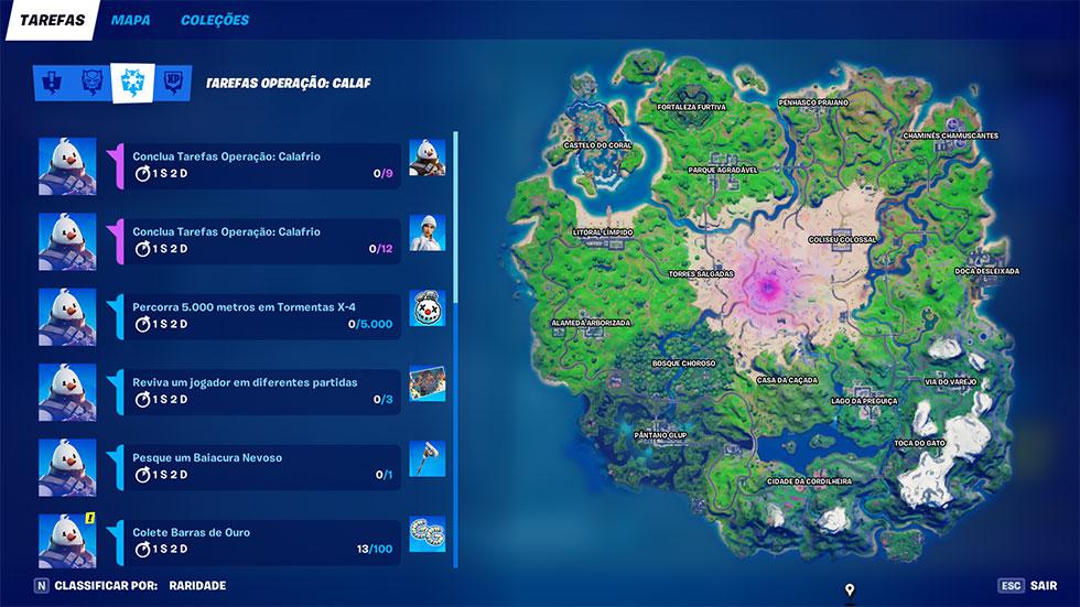 Missões podem ser vistas na tela de Tarefas, acessada através da tela inicial do jogo (Imagem: Epic Games/Reprodução)