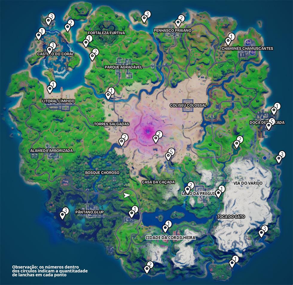 Localização das Lanchas em Fortnite (Imagem: Reprodução)