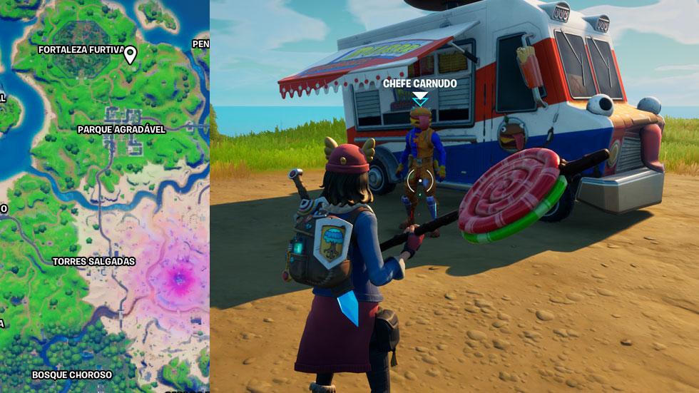 Chefe Carnudo fica ao lado de um foodtruck (Imagem: Montagem/Reprodução)