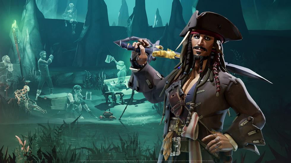 Jack Sparrow está presente em Sea of Thieves (Imagem: Rare/Reprodução)