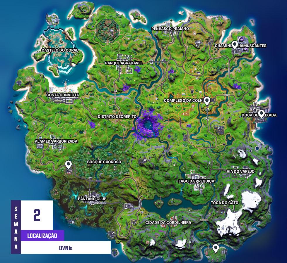 Localização dos OVNIs em Fortnite (Imagem: Montagem)