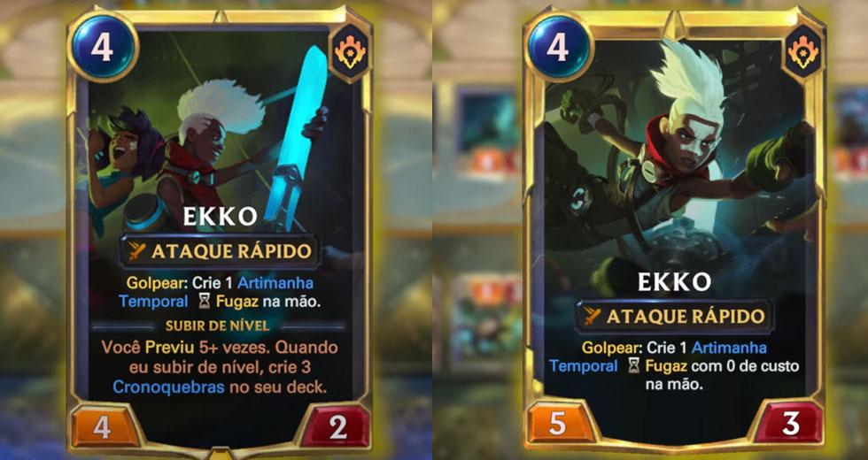 Ekko em sua forma inicial e evoluída (Imagem: Riot Games/Montagem)
