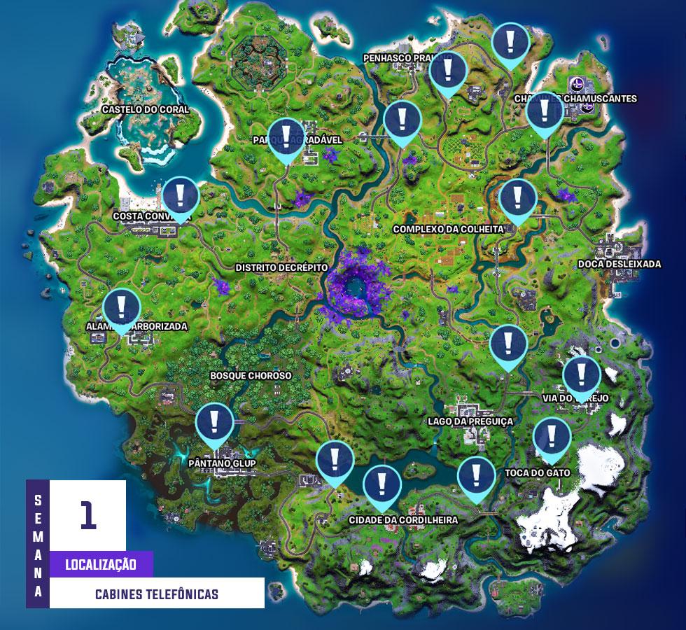 Localização das cabines telefônicas em Fortnite (Imagem: Montagem)