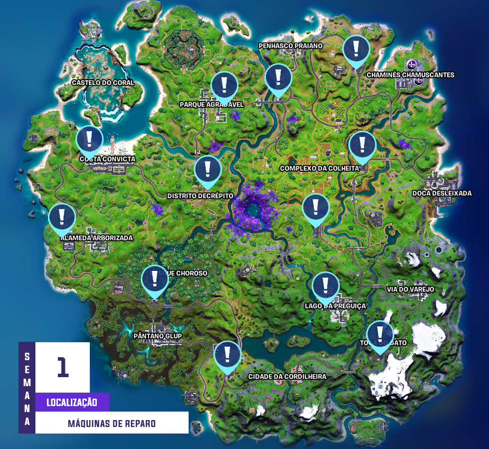 Localização das máquinas de reparo (Imagem: Epic Games/Montagem)