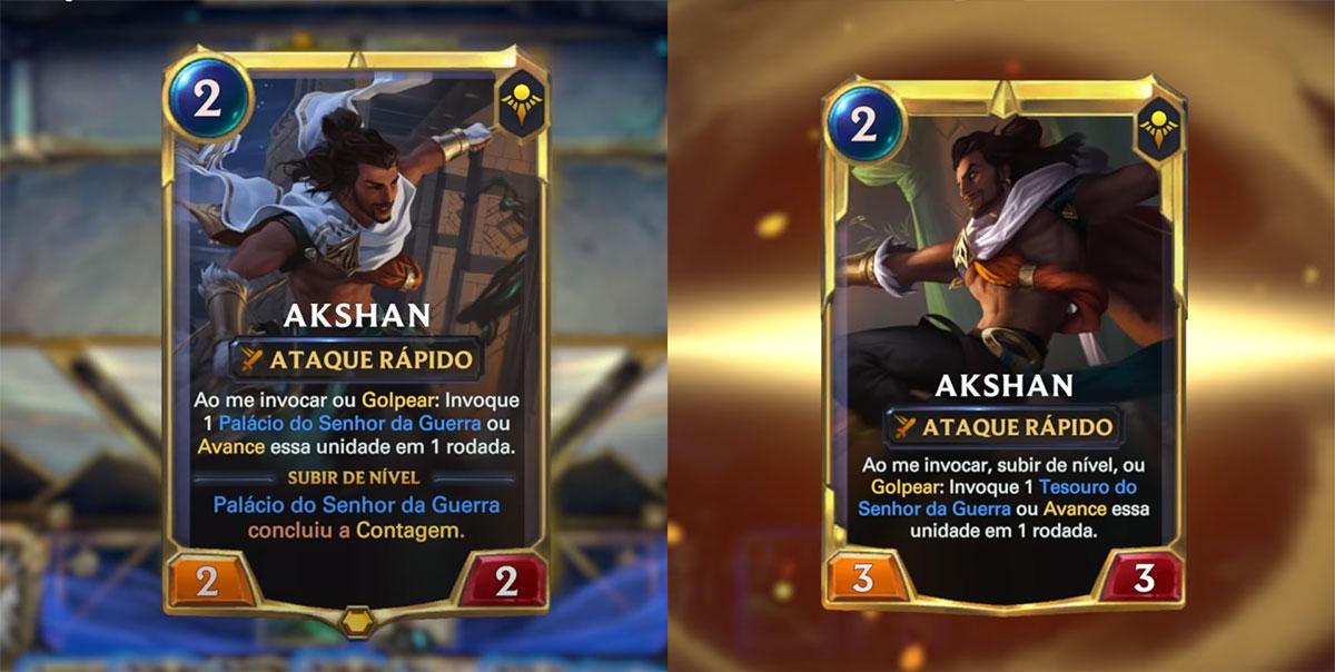 Cartas de Akshan no LoR (Imagem: Riot Games/Reprodução)