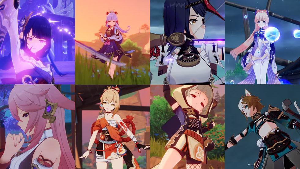 Shogun, Ayaka, Sara, Kokomi, Yae, Yoimiya, Sayu e Gorou - da esquerda para a direita da coluna de cima para baixo (Imagem: miHoYo/Montagem)