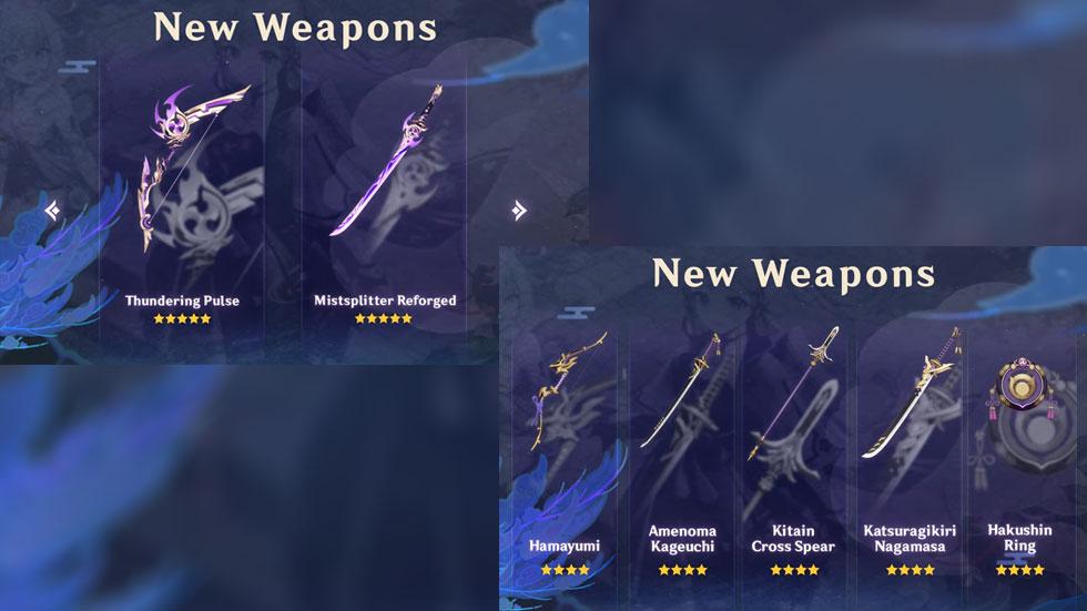 Armas da Versão 2.0 (Imagem: miHoYo/Montagem)