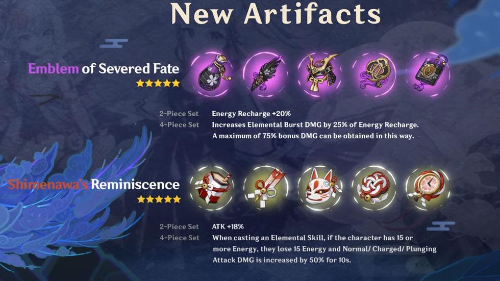 Novos artefatos da Versão 2.0 (Imagem: miHoYo)