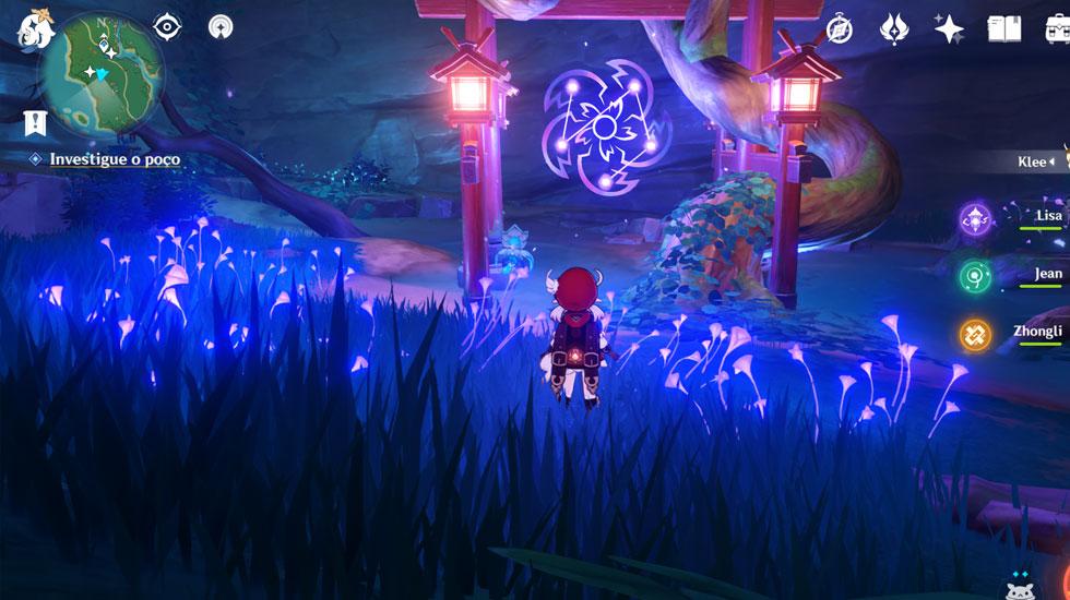 Para resolver o puzzle você deve colocar os totens na ordem correta, conforme mostrado na imagem no centro do templo