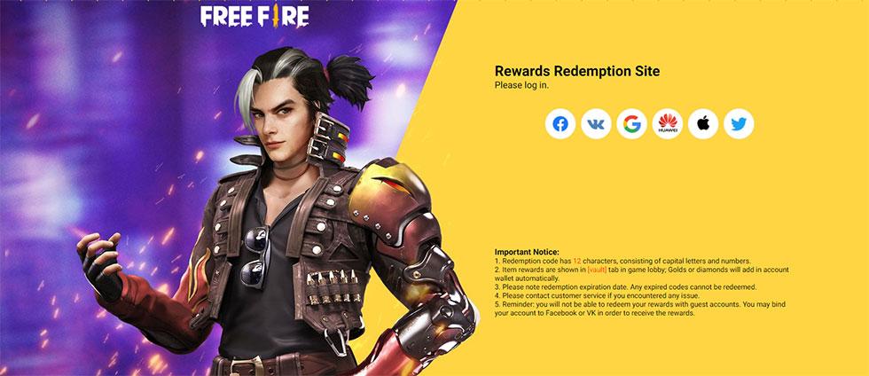Resgate deve ser feito através do site oficial (Imagem: Garena/Reprodução)