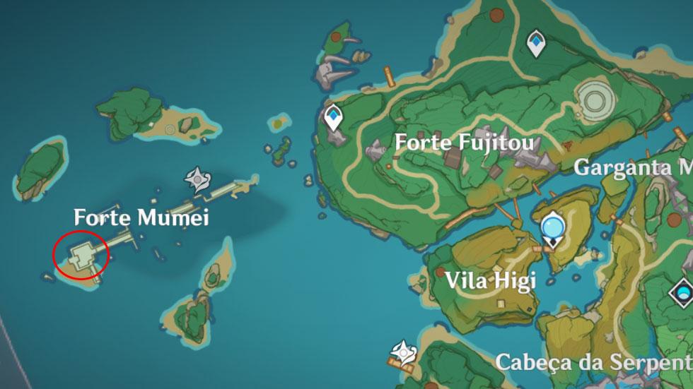 Forte Mumei fica em Inazuma (Imagem: Montagem)