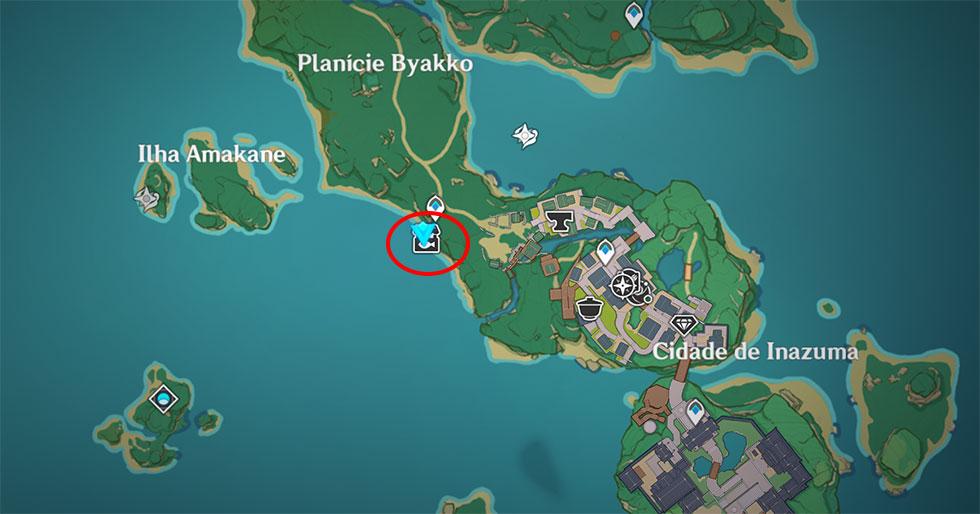 Localização do NPC Kujirai Momiji (Imagem: Montagem)