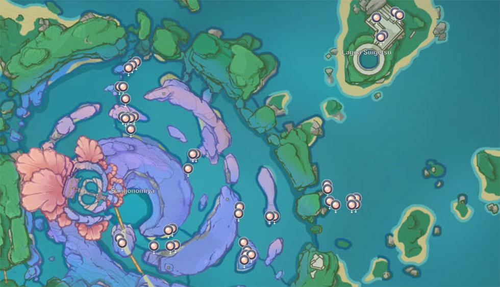 Localização da Peróla Sando em Genshin Impact (Imagem: miHoYo)